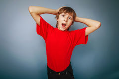 Boy teenager European appearance in a red shirt Stock Photography
