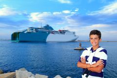 Boy teenager in ferry harbor blue sea Royalty Free Stock Photos