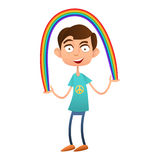 Boy teenager holding a rainbow, vector flat Stock Images