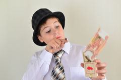 Boy teenager with a mousetrap in hands of Royalty Free Stock Photography