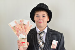 Boy teenager with a mousetrap in hands of Royalty Free Stock Photos