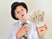 Boy teenager with a mousetrap in hands of Royalty Free Stock Images