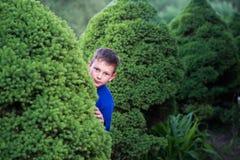 Boy teenager peeking out of a bush Stock Photo