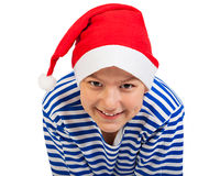 Boy teenager with Santa hat Royalty Free Stock Images