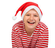 Boy teenager with Santa hat Stock Photography