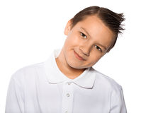 Boy the teenager smiles isolated on a white background Royalty Free Stock Images