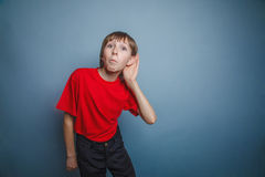 Boy, teenager, twelve years old, in a red shirt Stock Photo