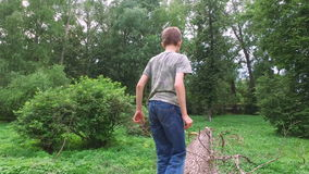 Boy teenager walking on the trunk of a large tree. Dry cut down sick trees lying on the ground. stock video footage