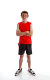 Boy teenager wearing sports gym clothing Stock Photos