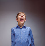 Boy teenager yells looking up on a gray background Royalty Free Stock Images