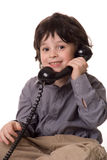 The boy with a telefone Royalty Free Stock Photography
