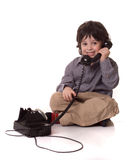 The boy with a telefone Royalty Free Stock Image