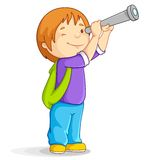 Boy with Telescope Royalty Free Stock Photography