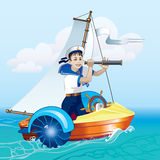 Boy with a telescope in the boat. A boy stands in a boat looking through a telescope. Water amusement. Boat trip Stock Photo