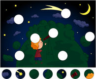 A boy with a telescope looking at the comet in the night sky wit Stock Image
