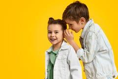 Boy telling secrets to girl stock photography