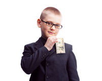 Boy with ten dollars Royalty Free Stock Image