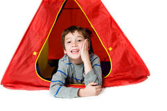 Boy in a tent Stock Photography