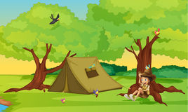 A boy and a tent for camping Royalty Free Stock Photos