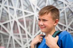 Boy on the territory of Olympic Park in Beijing Royalty Free Stock Photo