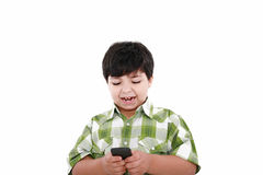 Boy text messaging Royalty Free Stock Photography
