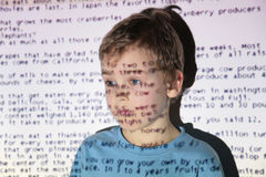 Boy an text projection device Stock Photos
