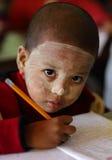 Boy with Thanaka in Myanmar Stock Photography