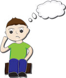 Boy thinking cartoon. Cartoon illustration of a boy sitting on a box thinking Royalty Free Stock Image
