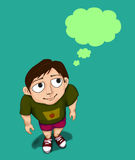 Boy thinking idea with bubble speech Stock Images