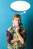 Boy thinking and looking up Stock Images