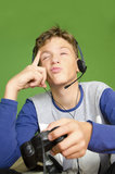 Boy thinking next move video games Royalty Free Stock Photo