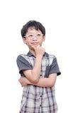 Boy thinking over white background Stock Images