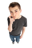 Boy thinking or pondering Royalty Free Stock Photos