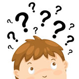 Boy thinking with question marks. Illustration of boy thinking with question marks Royalty Free Stock Photography
