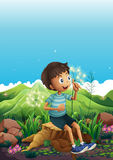A boy thinking while sitting above a stump Stock Photography