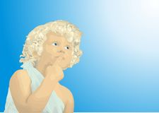 Boy thought. Cute blond boy looking thoughtfully in a bright blue sky, vector illustration Royalty Free Stock Images