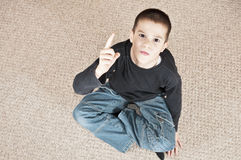 Boy threatening top view Royalty Free Stock Photography