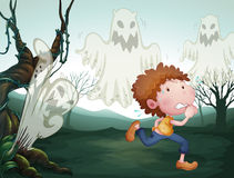 The boy and the three ghosts. Illustration of the boy and the three ghost Royalty Free Stock Photography