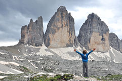 Boy at Three Peaks in Italy Royalty Free Stock Photo