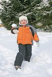 Boy throw snow Royalty Free Stock Photo