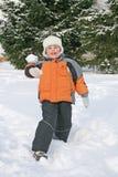Boy throw snow royalty free stock photo
