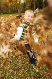 Boy throwing Autumn leaves Stock Images