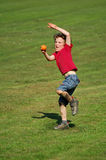 Boy throwing ball royalty free stock photos