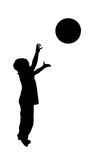 Boy throwing red ball over white Stock Photography
