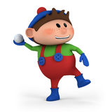 Boy throwing snowball. Cute cartoon boy throwing snowball - high quality 3d illustration Stock Images