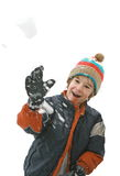 Boy Throwing a SnowBall Stock Images