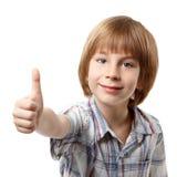 Boy thumb up isolated on white Stock Photo