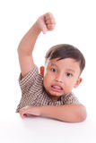 Boy with thumbs down Royalty Free Stock Images