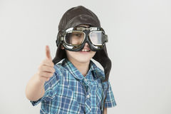 Boy thumbs up with leather cap_horizontal Stock Images