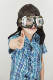 Boy thumbs up with leather cap_vertical Royalty Free Stock Photography